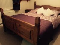 Mexican Pine Bedroom Furniture set with King size bed, wardrobe, chest of drawers and bedside locker