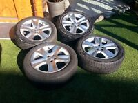 Set of 4 Original OEM Subaru Alloy wheels c/w Yokohama Tyres. Ideal for fitting Winter Tyres to
