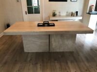 8 Seater Travertine Dining Table & Matching Console Table/Coffee Table