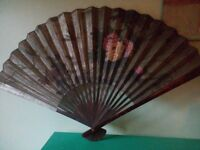 Vintage Chinese wall hanging fan.