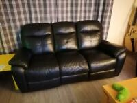 3 seater leather reclining sofa. Sold pending pickup