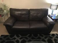 Dark brown leather 3 seater and 2 seater sofas