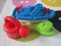 BATH TOYS water boats and watering can POSTAGE £3.50