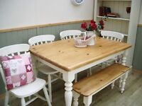 Stunning Pine Country Farmhouse 4½ft Table 4 Chair and Bench Set.