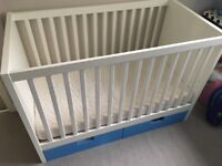 """IKEA 60"""" x 120"""" white & blue Stuva cotbed with breathable mattress"""