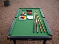 """Snooker table with legs 5'9"""" by 3'0"""" snooker and pool balls, cues etc"""