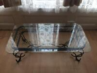 Coffee Or Tea Table Metal Frame With Bevelled Glass Top
