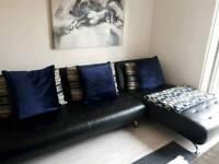 Black italian leather corner sofa left or right hand
