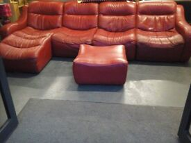 Red leather sofa set with chaise end and footstool
