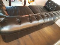 Black lrg two seater leather chesterfield