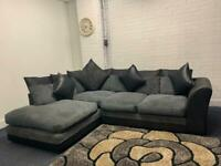 Grey & Black corner sofa delivery 🚚 sofa suite couch furniture