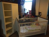 Cot bed, matching babys wardrobe and cot bedding