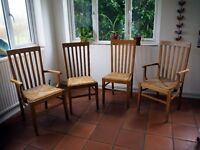 Wooden Slat Back Chairs (x4)