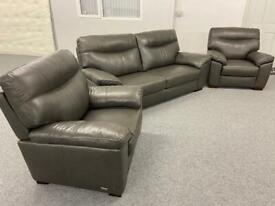 Stunning creations - grey top grade 3-1-1 - full leather sofas suite
