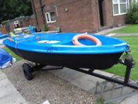 14ft fishing boat dinghy can hold outboard motor upto 6 hp