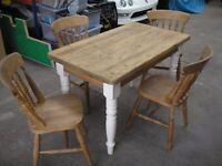For Sale, Solid Pine Farmhouse Table and Chairs