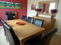 Beautiful Solid Oak Dining Table Suite comprising Table, 8 Chairs, Sideboard & Mirror