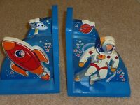 Kids Space themed wooden book ends