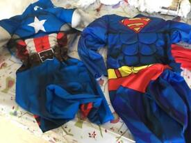 Boys superman and captain America costumes