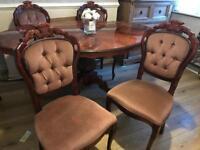 Table & chairs dark wood