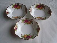 Three Royal Albert Old Country Roses Oval Dishes
