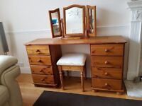 Dressing table - solid pine, double pedestal, stool, triple mirror