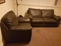 **AS GOOD AS NEW** 2 seater and 1 seater brown leather sofas