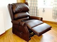 """Embassador"" rise/recline chair. Excellent condition, brown leather."
