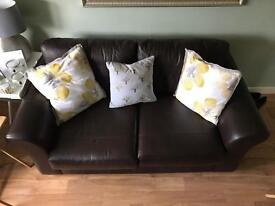 Large 2 seater brown leather couch