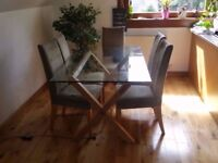 Modern glass top oak leg dining table with 6 chairs