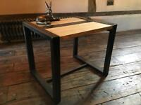 Custom Made Industrial Style Coffee Table Hand Crafted From Steel And Solid Oak