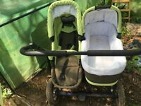 double Buggy with seats and carry cots