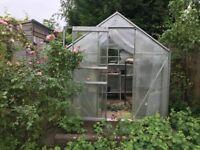 Greenhouse, aluminium frame, sliding door, opening roof light
