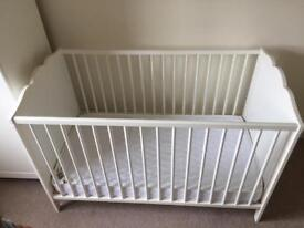 Baby cot, mattress & extras