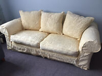 COLLINS AND HAYES LARGE 3 SEATER YELLOW LOOSE COVER SOFA