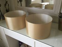 Pair of quality Gold Silk Drum Shades 32cm