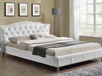 Brand New Kingsize White Fabric Bed Frame
