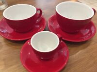 Espresso, 8oz & 10oz Red Cups and Saucers