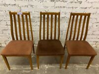 3 x Retro Teak chairs , in good condition . Velvet seat coverings . £60 for 3 chairs