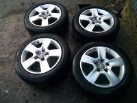 Audi vw 5 alloy wheels & tyres 5 stud 16'