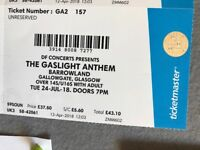 The Gaslight Anthem - Glasgow Barrowland - 24 July - One Standing Ticket - SOLD PENDING COLLECTION