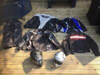 MOTORCYCLE motorbikeJACKETS, HELMETS, TROUSERS BARGAIN PRICE FOR WHOLE LOT Adventure bike