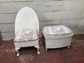 Lloyd loom styled bedroom chair and ottoman set