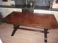 Vintage Solid Oak Refectory Table, 6 ft x 3 ft, Old Charm