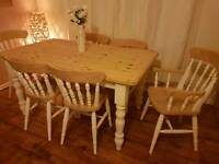 Quality solid pine & cream french country farmhouse shabby chic dining table and 6 chairs set