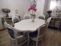 White Italian Dining Table & 6 Louis Style Chairs in Silver/Grey Crushed Velvet TO ORDER