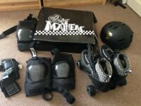 Roller Skates (size 7), helmet, knee, elbow and wrist pads for roller derby! Very lightly used.