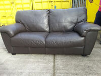 Brown Leather 2 Seater Couch Sofa - DELIVERY AVAILABLE