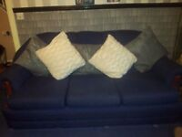 Blue Material 3 Seater Sofa/ 2 Single Chairs.