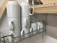 Set of 9 Porcelain Mugs and wall mounted rack